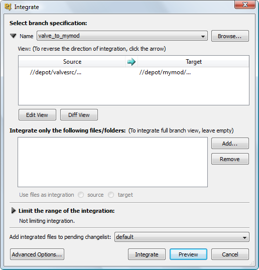 Integrating trunk code in Perforce