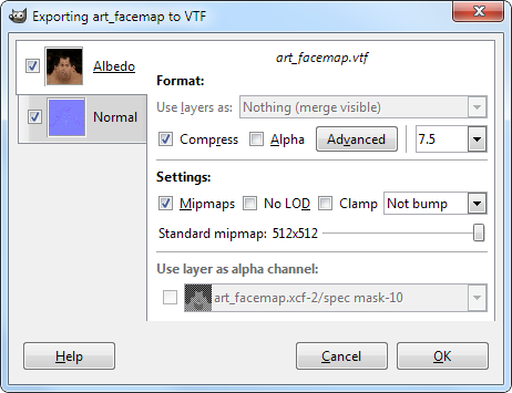 VTF save options