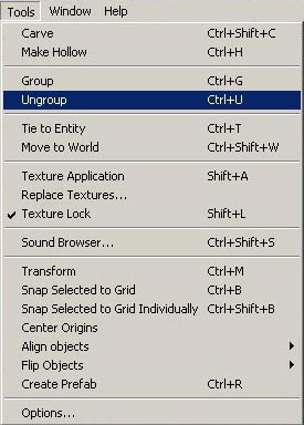 Selecting Ungroup from the Tools menu.