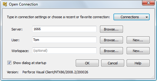 Perforce open connection dialogue