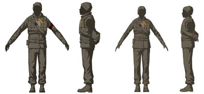 This model sheet shows the front and side views of the male and female resistance fighters from HL2.