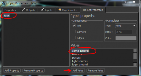 Categories can be added or removed with the properties tab.