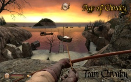 "Archer holding a longbow, looking out over the shoreline in the map ""The Shore"""