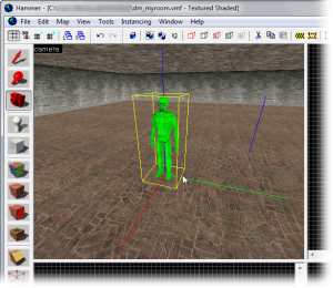 Left-click on the floor in the 3D View to place the starting entity.