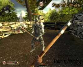 Knight with a doublehanded axe and the first person view of a Footmen with a halberd.