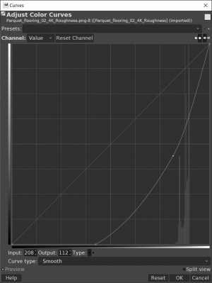 Curve to turn inverted roughness map to specular map