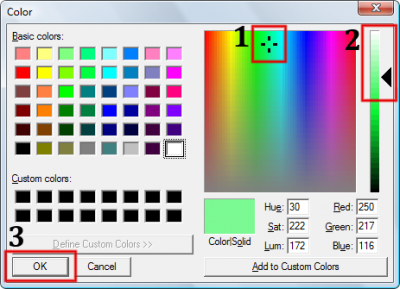 Change the hue/saturation and luminance of the light, then click OK.